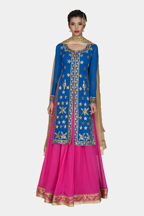 Manjika pink and blue lehenga set