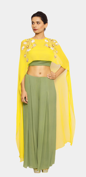 Devanee draped pant set with cape