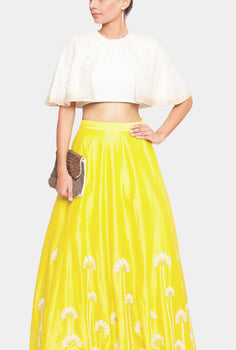 Dewi cape top and marigold lehenga set