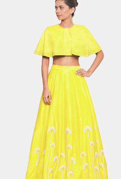Bindu cropped cape top and yellow skirt