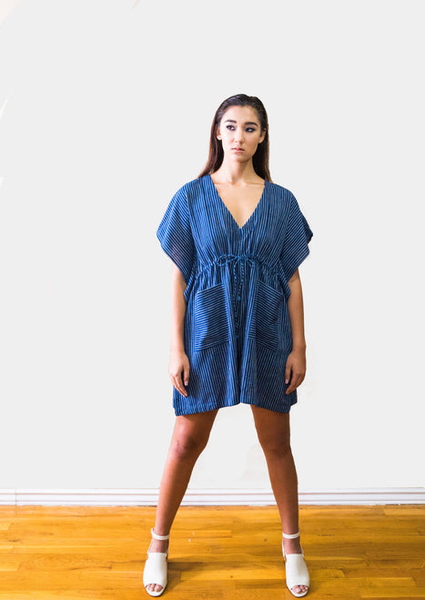 Rupa blue striped romper