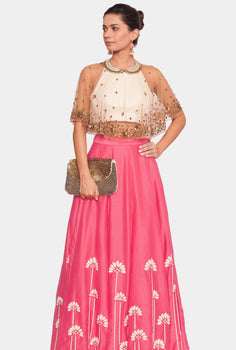 Eesha peter pan cape top and pink lehenga