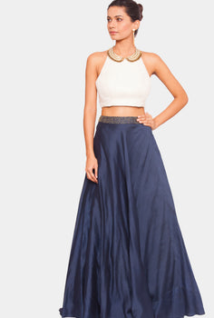 Lata peter pan crop top and navy lehenga