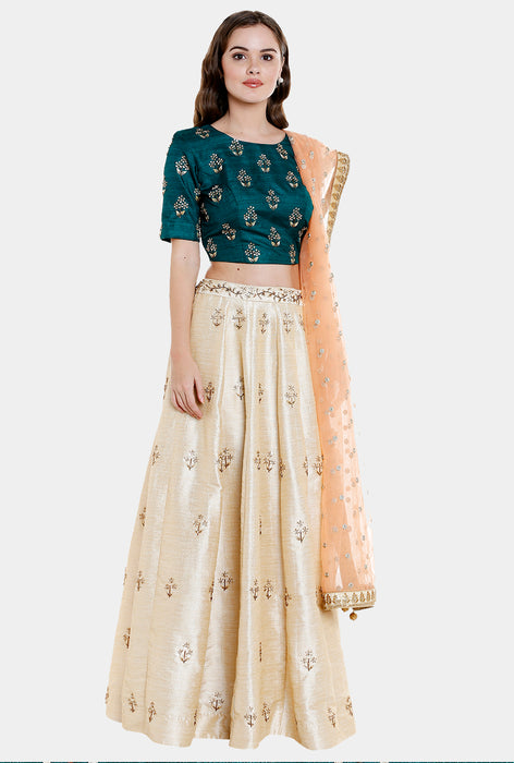 Arpita off-white and green lehenga set