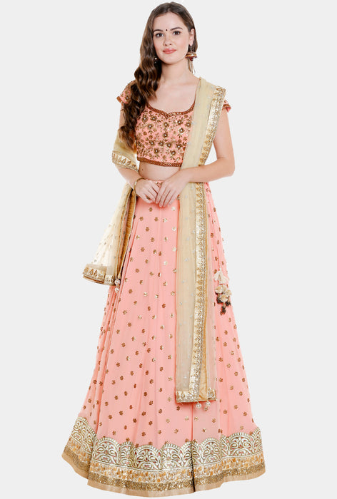 Asmee peach georgette lehenga set
