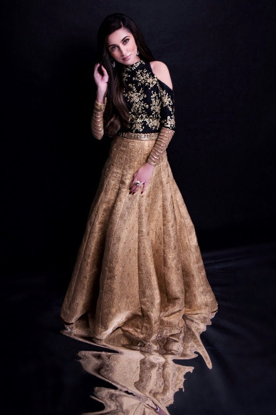 Kopal Embroidered Cold-Shoulder Lehenga