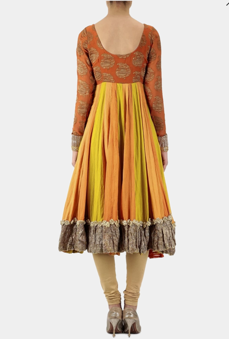 Jharma orange scoop back anarkali