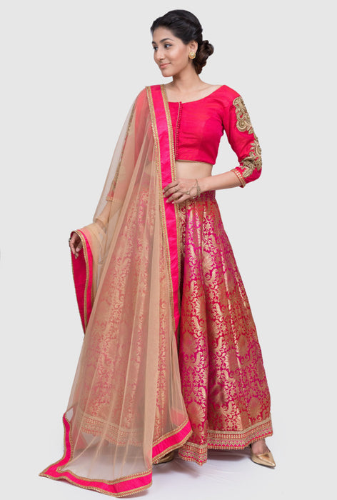 Arya hot pink brocade lehenga