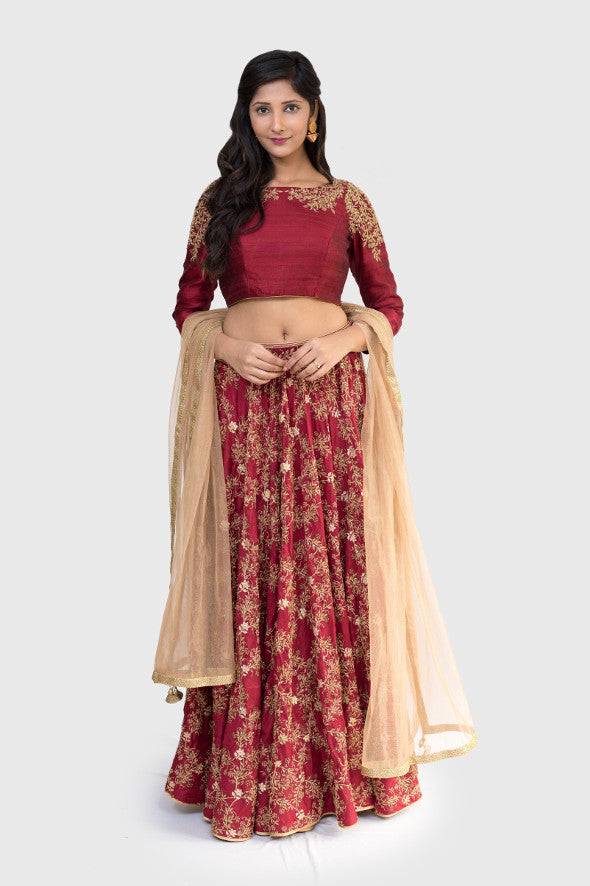 Crimson and Copper Embroidered Lehenga