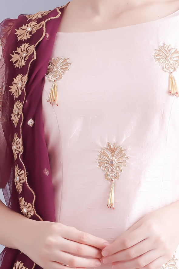 Freesia Blush and Wine Kurta Suit Set