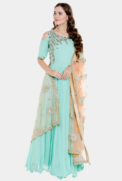 Garima mint georgette anarkali set