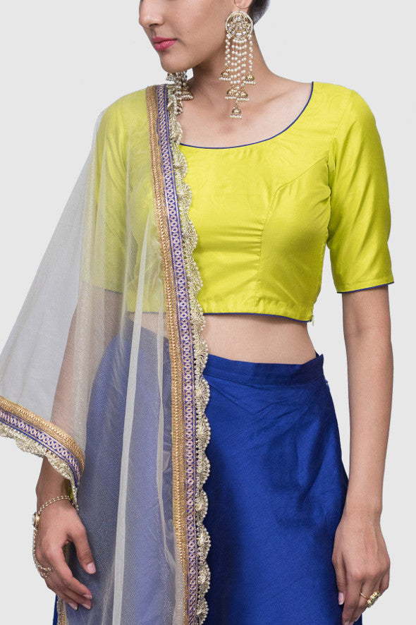 Halie Color Block Lehenga in Yellow and Blue