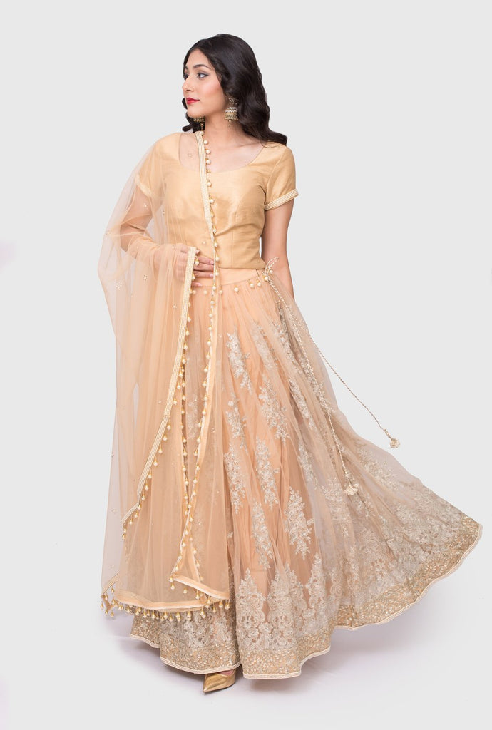 Jagriti gold embroidered lehenga