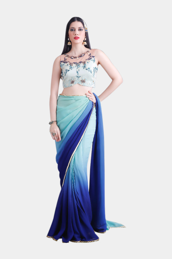 Iris Blue Ombre Sari Set