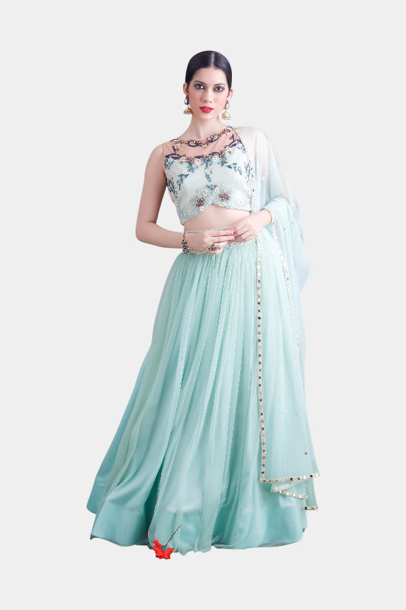 Jasmine Sheer Mint Lehenga Set