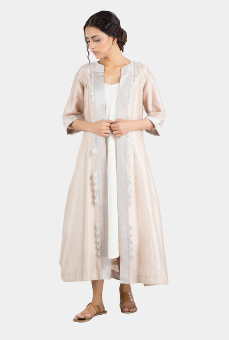 Urmi grey and nude ankle-length jacket