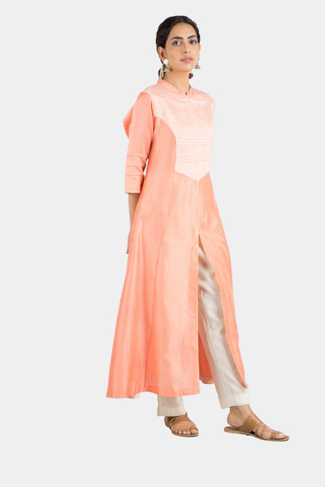 Kalindi peach and blush kurta set