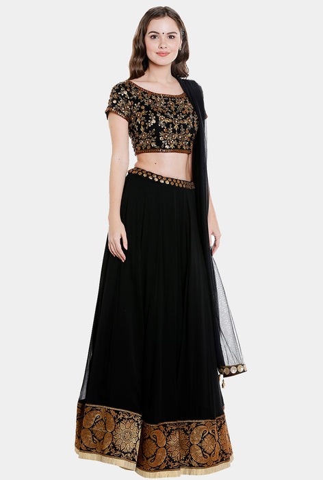 Manasi black georgette lehenga set