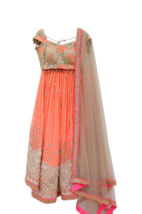 Manpreet Coral and Gold Bridal Lehenga