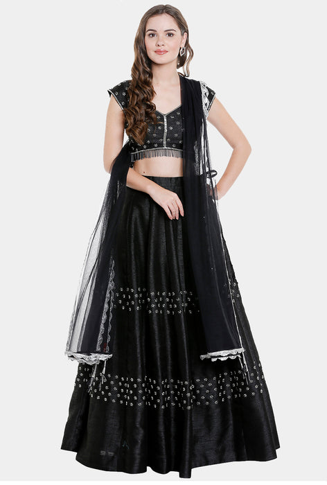 Oni black raw silk lehenga set