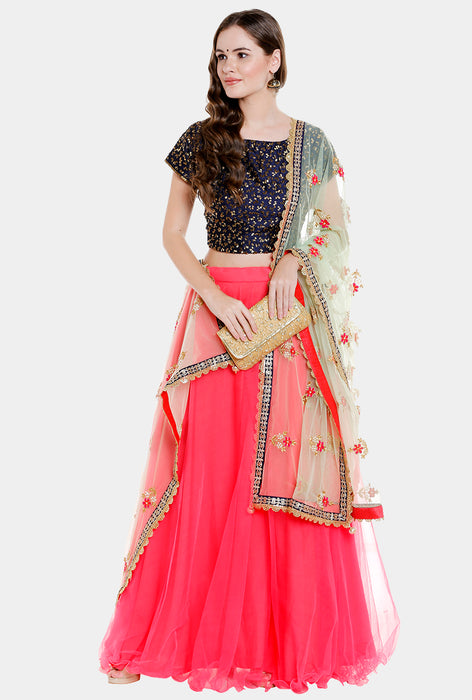 Pavithritha coral and blue lehenga set