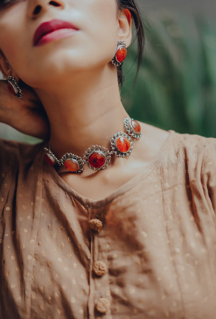 Saroj orange floral choker