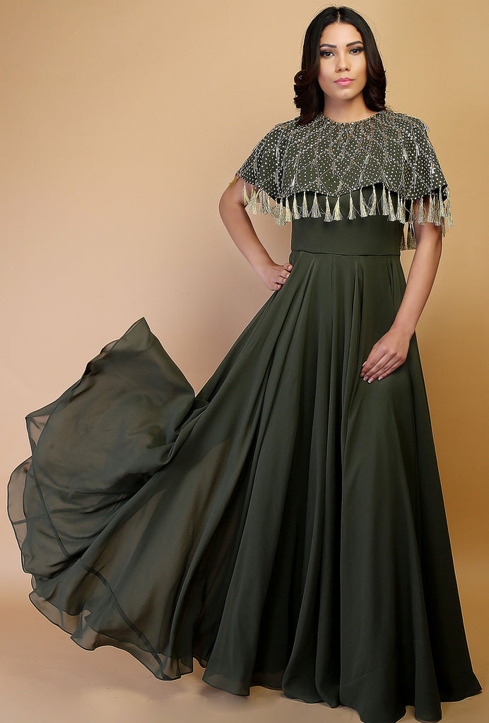 Neysa green fringed cape gown