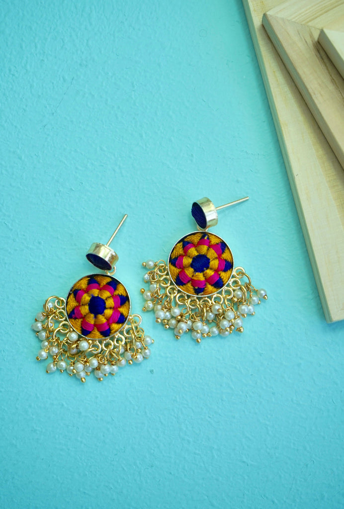 Aaloka purple and yellow earrings