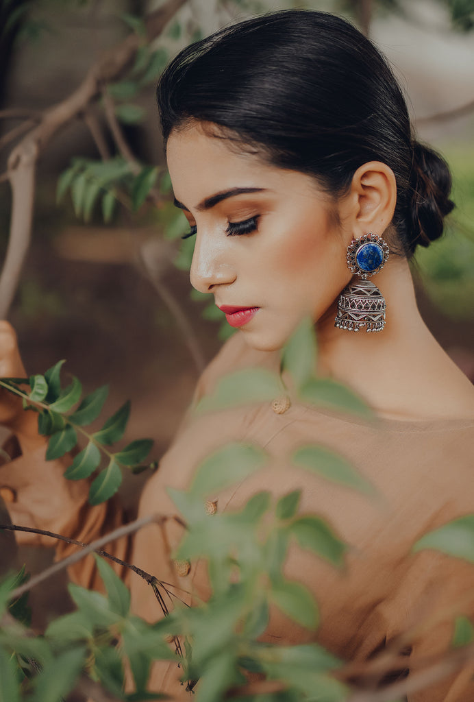 Kishori blue floral earrings