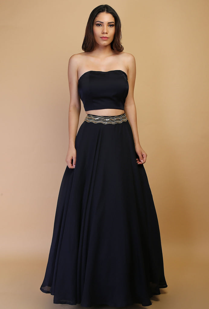 Akashi navy and silver lehenga set