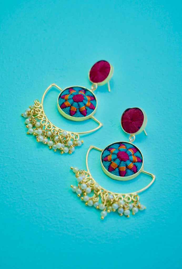 Kalindi pink patterned earrings