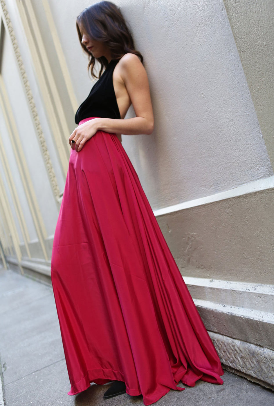 Lulu pink high-waist slit skirt