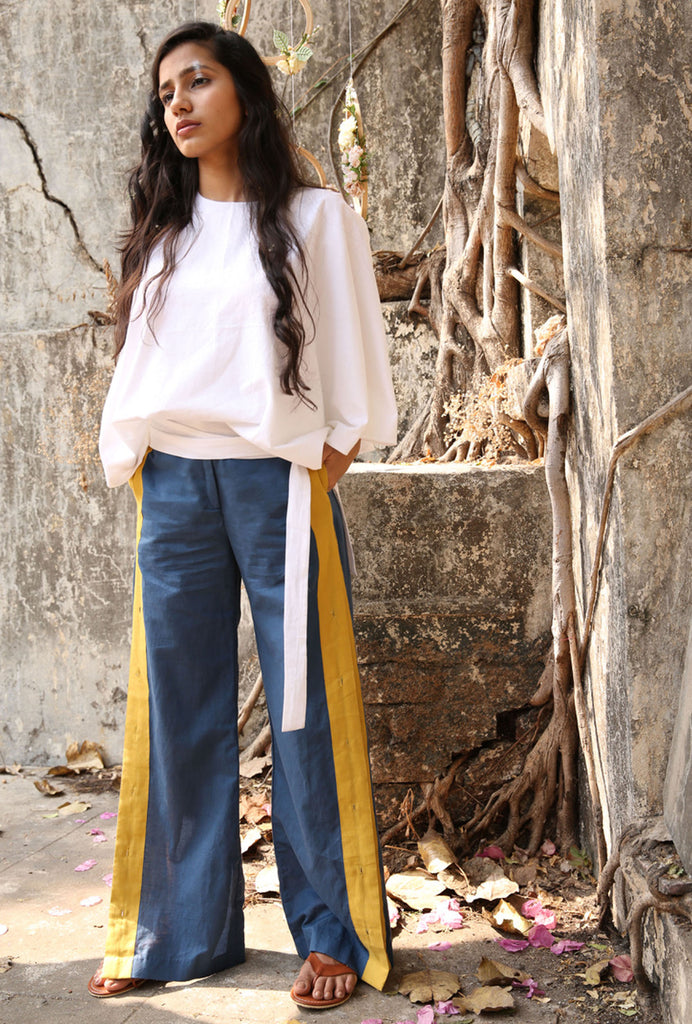 Sameera blue striped slit pants