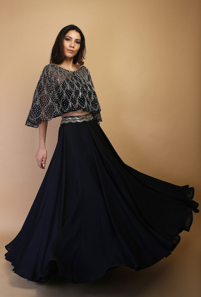 Sheela navy and silver lehenga