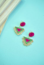 Srividya green triangle earrings