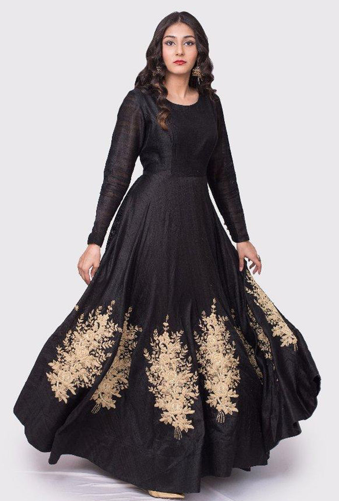 Avani black embroidered gown