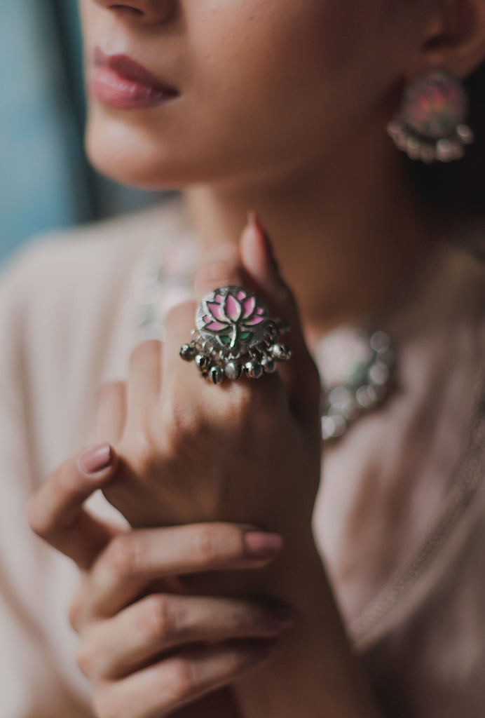 Rucha pink lotus ring