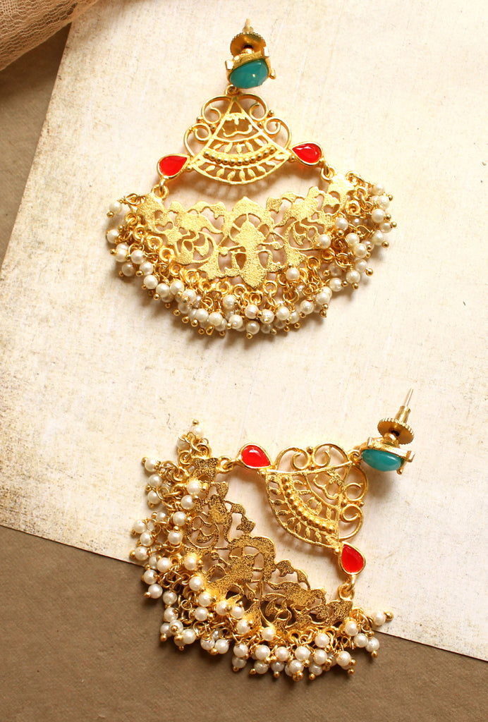 Hiral gold pearl earrings