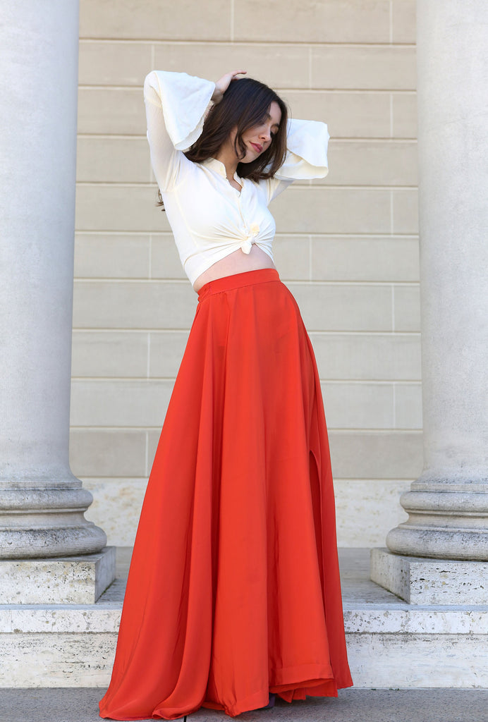 Lulu red high-waist slit skirt