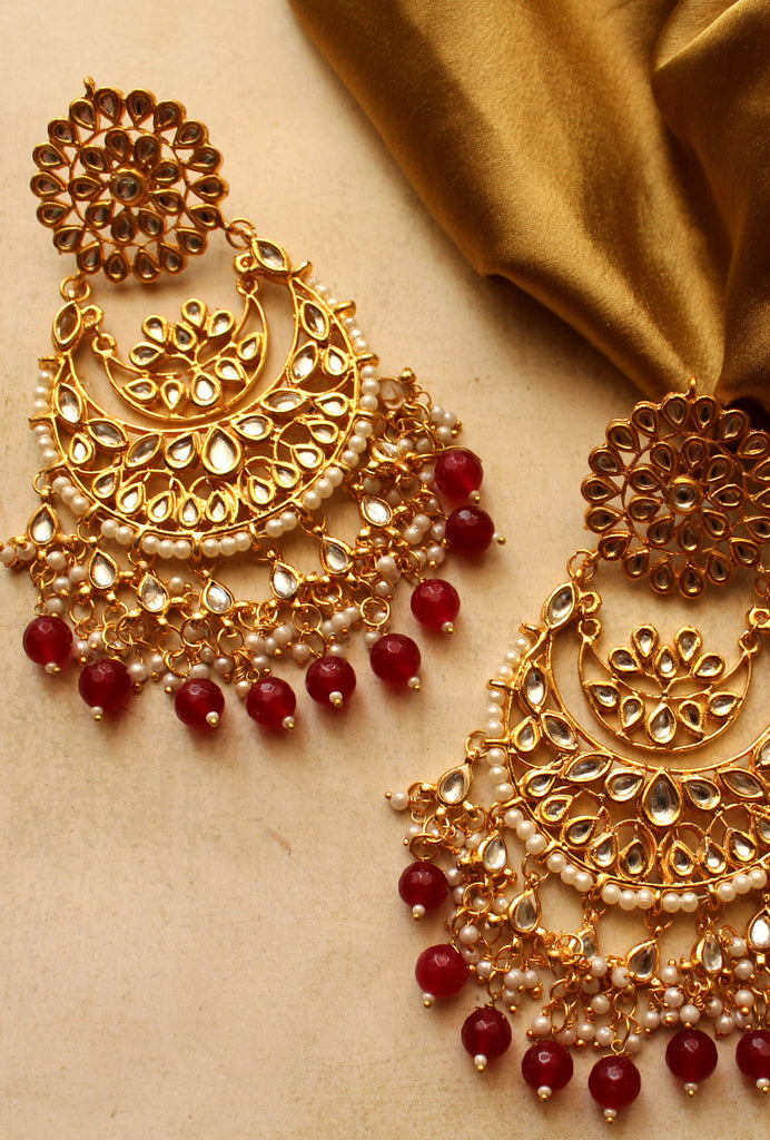 Netra red and gold earrings