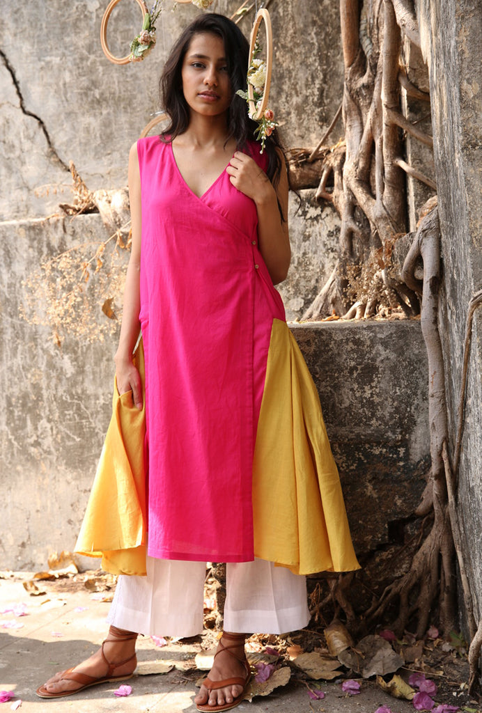 Pavan pink and yellow kurta set