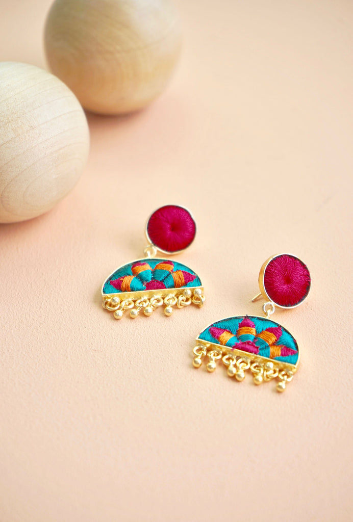 Parvani pink and blue earrings