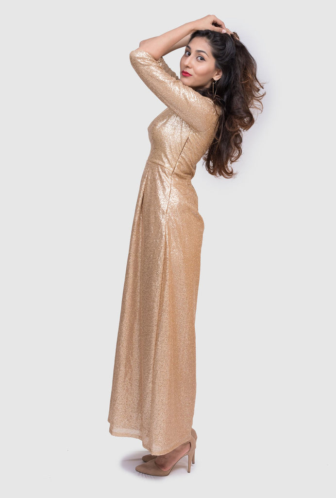 Prathitha gold sequin gown