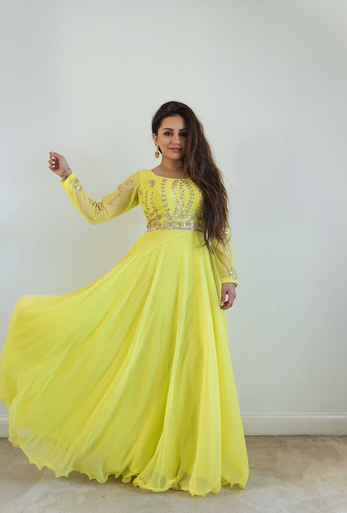 Kaushal yellow gota patti gown