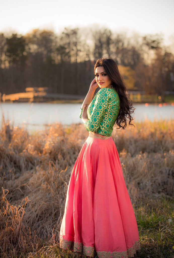 Saleka peach brocade lehenga