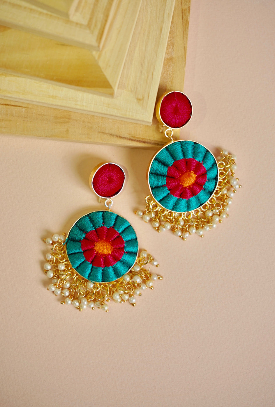 Sharvani turquoise circle earrings