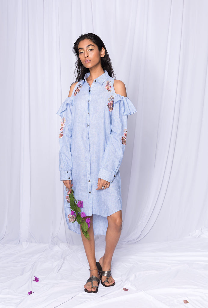 Ketki cold shoulder blue shirt dress