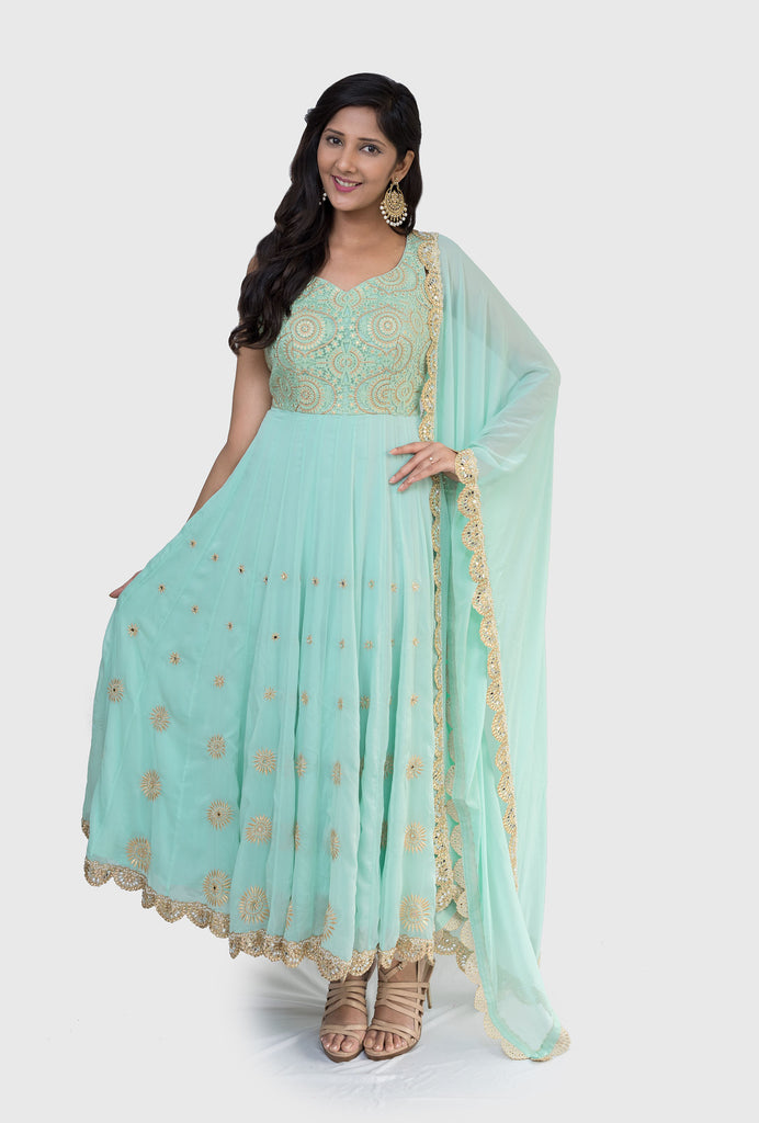 Maithili mint and gold anarkali