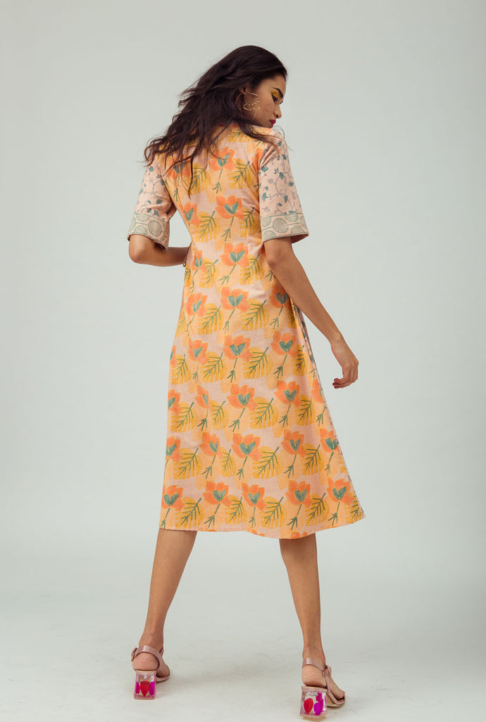 Kanupriya orange patterned wrap dress