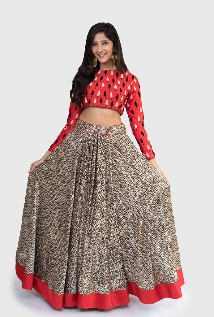 Shonima red and black lehenga set